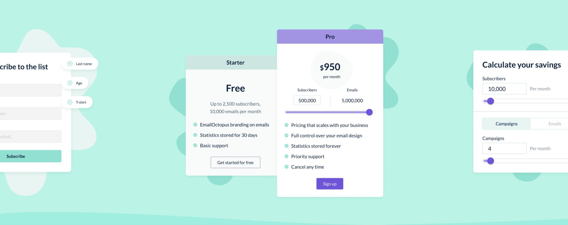 EmailOctopus UI design